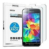 [2 Stück] OMOTON Panzerglas Schutzfolie für Samsung Galaxy S5 mini mit [2.5D abgerundete Kanten ] [9H Härte] [Kristall-klar [kratzfest] [Luftbläschen-frei]