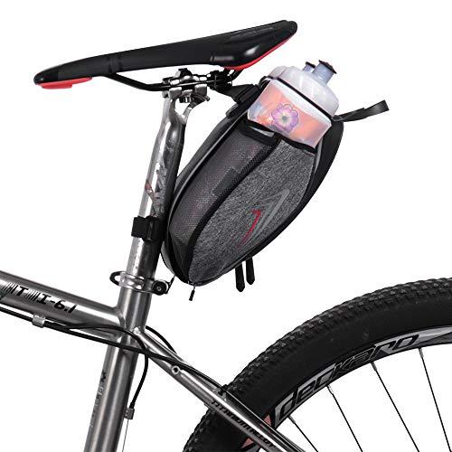 LIDAUTO Fahrrad Satteltasche Kompakte Wasserdichte Rahmentasche mit Doppelt Flaschenhalter