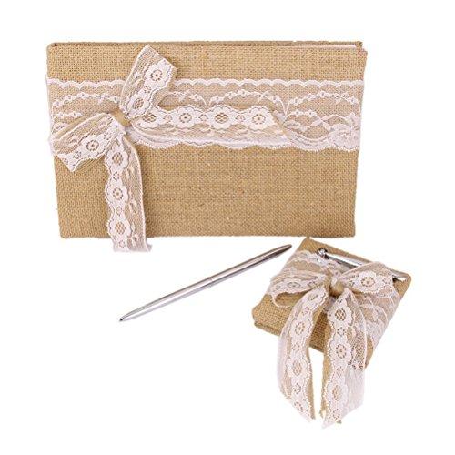 Pixnor Vintage Sackleinen Jute Hochzeit Gästebuch Stift mit Blume Mädchen Korb Ring Kissen Spitze Schleife verziert - Ring-kissen Gästebuch,