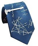 Unbekannt Set Seidenkrawatte Mathematik + Schieblehre Krawattennadel - Krawattenklammer inkl. Geschenkhülle