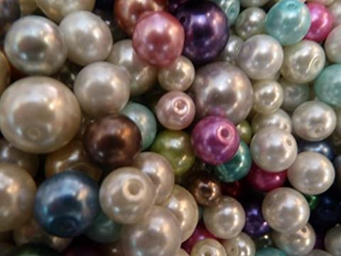 150 Mixed Sizes Glass Pearl Beads 12mm Largest - 6mm