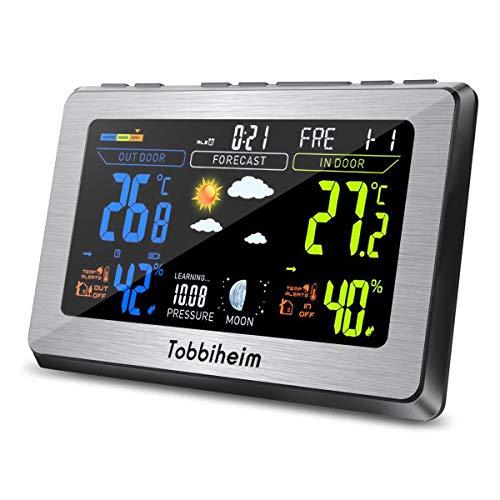 Tobbiheim Funk Wetterstation, Funkwetterstation Vollfarbanzeige Thermometer und Hygrometer für Innen und Außen Temperatur, Luftfeuchtigkeit, Mond Phase, Wecker & USB Ladebuchse für Handy - Silber Sc-station