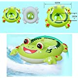 Shuangyou Inflatable Pool Float Botitu Green Baby Swimming Float Seat With Frog Pattern Spring Float For Kids Children Toddlers And Infant Float Suitable For 1-6 Years Old Baby Pool Toy