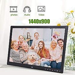 Cadre Photo Numérique, 17 Pouces LED HDMI Cadre Photo Numérique Portable Lecteur MP3 Vidéo Calendrier Réveil avec Télécommande Support Carte SD 32G pour Maison, Bureau.(Noir)