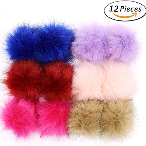Hat 3d-puff (Dr Nezix DIY 12 stücke Faux Fuchspelz Flauschigen Pompom Ball Mix Farben für Hüte Schuhe Schals Tasche Charms Zubehör (B))