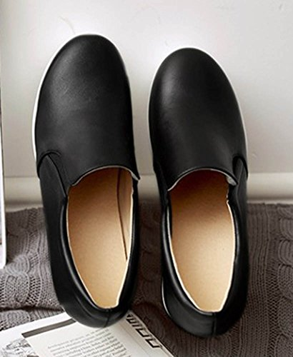Aisun Damen Modisch Dicke Sohle Glattleder Durchgängiges Plateau Loafers Sneakers Schwarz
