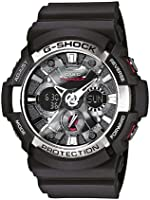 Casio Men's G-Shock Analogue Digital Watch with Resin Combi Strap, GA-200-1AER