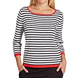 comma Damen Pullover 80899610375, Blau (Blue Stripes 59G6), S