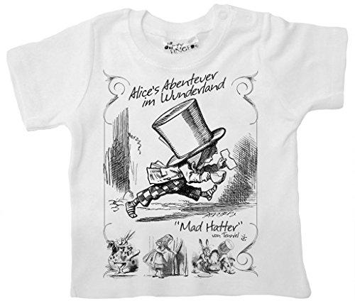 Dirty Fingers, Alice's Abenteuer im Wunderland, Mad Hatter, Baby T-Shirt, 6-12m, Weiß