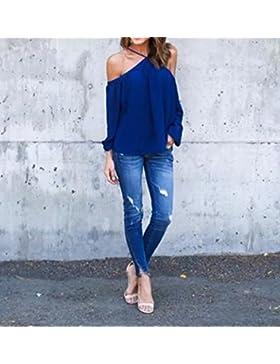 Hippolo donne sexy sciolto casual Sling top chiffon off Shoulder t-shirt a maniche lunghe camicetta blu Blue XL