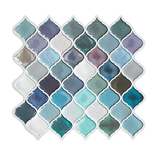Tile Stickers Backsplash For Kitchen Bathroom, Peel And Stick Teal  Arabesque Tiles, Mosaic Wall