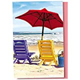 Tree-Free Greetings EcoNotes 12 Count Beach Chairs All Occasion Notecard Set with Envelopes, 4 x 6 Inches (FS56237)