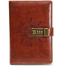 Diario/del cuaderno tema del pirata marrón PU forrado de piel código náutico de la contraseña de la vendimia 112 páginas regalo de 205 x 135 mm