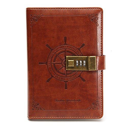 MOHOO B6 Größe Passwort Retro Tagebuch PU-Material Fashion Tägliche Notizblock mit Zahlenschloss 112 seiten Vintage Notebook braun Geschenke für Kindertag
