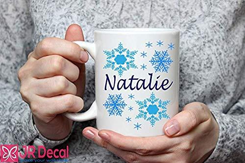 ame Becher Schneeflocken gefroren Thema Geburtstag Geschenk Kinder personalisierte Kaffeetasse, Tasse, Weihnachten Weihnachten Neuheit Geschenkidee ()