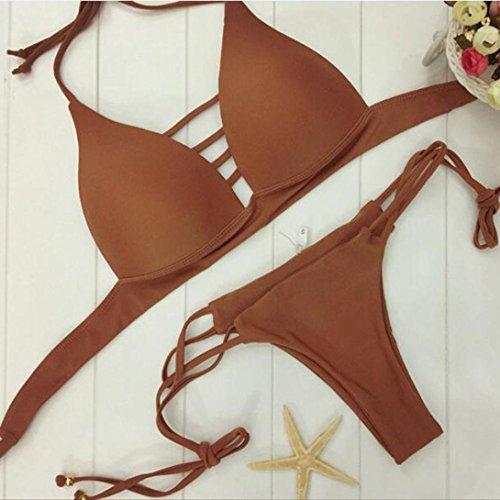 Bikinis WINWINTOM Frauen Badebekleidung Push-Up gepolsterte BH Badeanzug Beachwearr Kaffee