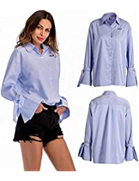 5dcbdf95b437bb Semme Frauen Modische Blau Weiß Gestreifte Aufflackernhülse Umlegekragen  Lose Bluse(XL)