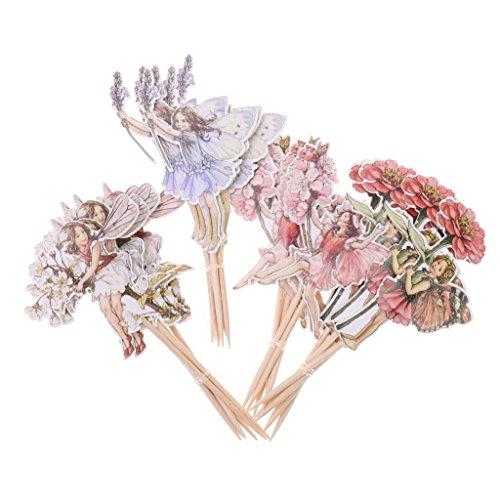 ELECTROPRIME® 48pcs/Set Flower Fairy Pixie Cowboy Cupcake Picks Toppers Party Cake Decora
