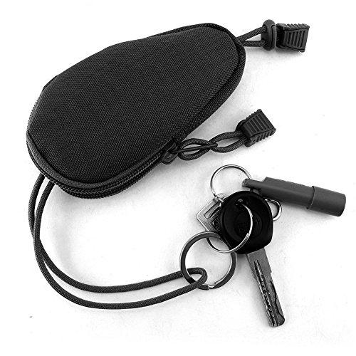 OneTigris Mini Outdoor EDC Tasche Geldbeutel Münzen Geldbeutel mit Innen Edelstahl-Schlüsselring (Schwarz) - Machen Münze Geldbeutel