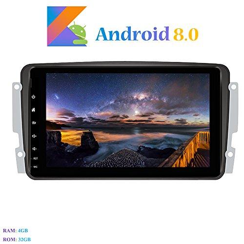 Hi-azul Android 8.0 Car Autoradio, 8-Core RAM 4G ROM 32G Car Radio 8 Zoll Autonavigation Kopfeinheit Car Audio für Mercedes-Benz CLK-W209 C209/ C Class W203/ Viano/Vito/ A-Class (Autoradio)
