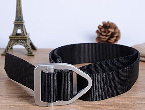 Fairwin Mens Tactical Webbing Belt, Nylon Breathable Military Style Webbing Belt Men Waist Belt Casual Outdoor Army Webbing Buckle