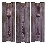 Wanddeko Holzbild Bild Holzschild Wandschild Holz Vintage 3er Set Motiv: Besteck Gabel Messer 20 x 60,1 cm