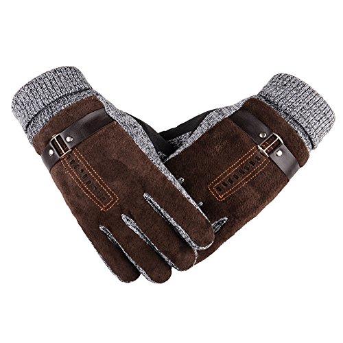 Herren Winter Handschuhe, Youson Girl® Herren Leder Handschuh Winddicht Warme Thermal Handschuh Abriebfest Outdoor Sport Handschuh (braun)