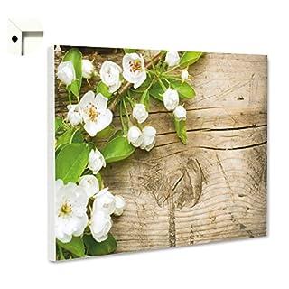 Magnettafel Pinnwand Memoboard Motiv Natur & Blumen Apfelblüten in weiß auf Holz (60 x 40 cm)