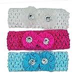 #2: Crochet Cutwork Flower Baby Headband ( White , Pink , Blue ) 3 Pcs Set