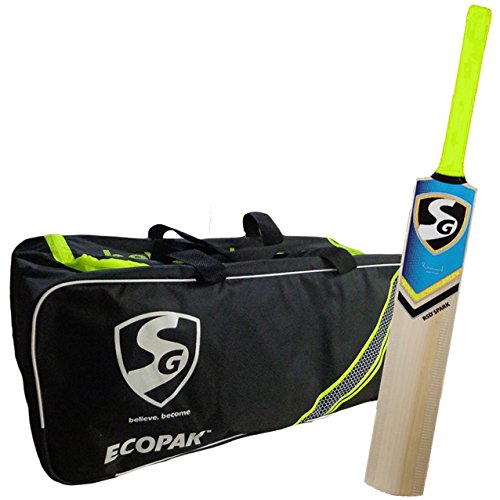 SG Essential Cricket Kit with Bat and Bag (Ecopak Cricket Kitbag + RSD Spark Kashmir Willow Cricket Bat, size 5)