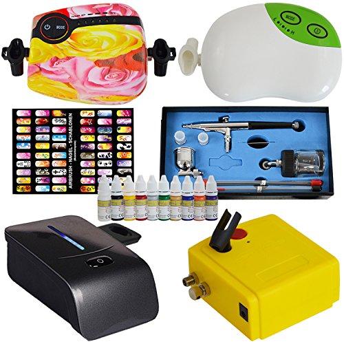 Preisvergleich Produktbild AIRBRUSH SET Airbrush Kompressor Set AIRBRUSH KOMPLETT SET - MINI AIRBRUSH KOMPRESSOR CARRY II - mit AIRBRUSH NAIL Farben/Schablonen-Set, UNIVERSAL AIRBRUSHPISTOLE DOUBLE ACTION mit 0,2mm / 0,3mm / 0,5mm Nadel-/Düsen-Set und 2 Farbbehältern OPTIMALES Airbrush-Kit Nailart für Anfänger und Fortgeschrittene (Carry II Rosa)