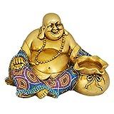 K.S - Budista Sonriente de Resina Hecha a Mano para Buena Suerte