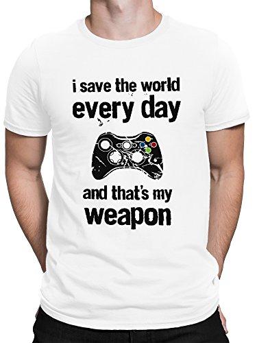 vanVerden Herren Fun T-Shirt Save The World Game Controller Gamepad Plus Geschenkkarte, Color Weiß, Größe:4XL
