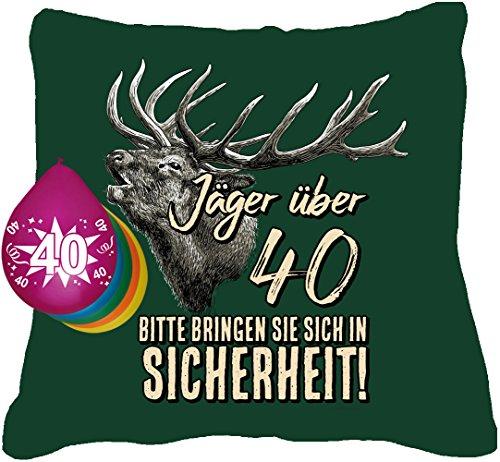 Kissen Jaeger ueber 40 + 5 Luftballons (Geburtstag 5 Drehen Shirt)