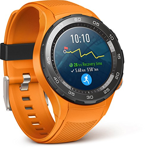 Foto Huawei Watch 2 Smartwatch, 4G/LTE, 4 GB ROM, Android Wear, Bluetooth, Wifi, Monitoraggio della frequenza cardiaca, Arancione (Dynamic Orange)