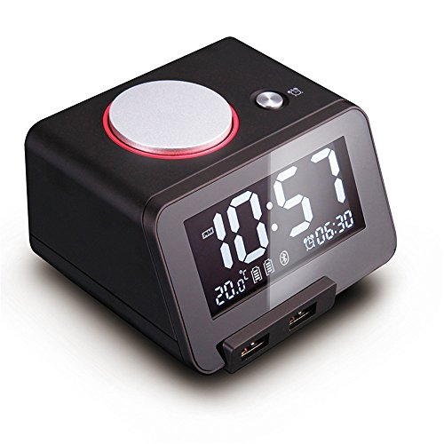 AIZIJI Campana Grande Mute Luminoso Despertador electrónico de Repetición LED Termómetro Estudiante cabecera 100X90X65MM, Negro