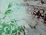 floralem Flockprint Polyester Chiffon Kleid Stoff khaki &