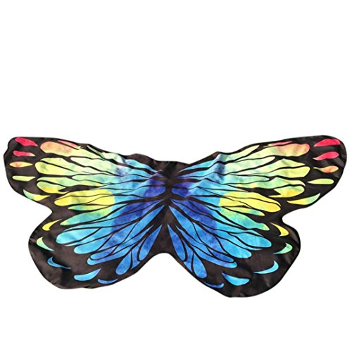 Frauen Schmetterling Flügel Schal, Hmeng Weiche Stoff Schals Mehrfarbige Schal Wrap Mädchen Cosplay Kostüm Zubehör für Party oder Show (145*65CM, Multicolour) (Mädchen Schmetterling Flügel)