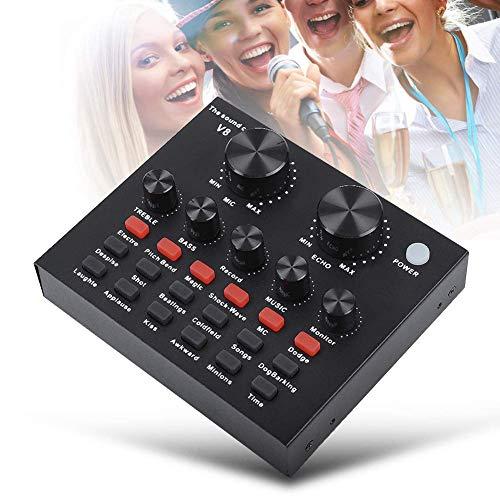 V8 Audio Mixer USB Externe Soundkarte, Headset Mikrofon Live Soundkarte Karaoke für Mobiler Computer PC Single Kopfhörer, Audiokarte für Live Aufnahme Home KTV Sprachchat