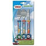 Thomas & Friends Juego de cubiertos diseño tren de carreras, de plástico, 3 piezas
