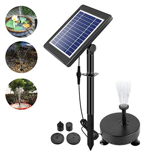 everfarel Solar Springbrunnen Pumpe mit LED Beleuchtung für Garten Teich Solar Wasser Vogel Bad Pool Tauchpumpe Kit (3.5W)