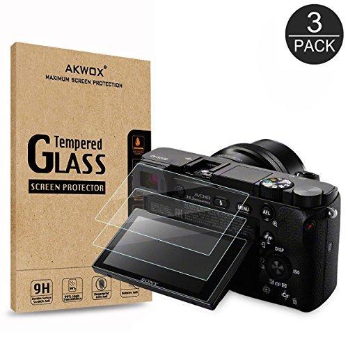 [Lot de 3] Verre Trempé Sony DSLR Alpha A6000 A6300 A5000 NEX-3 NEX-5 NEX-6 NEX-7, Akwox Film de Protection d'Écran Dureté 9H 0.33MM HD Anti Rayures Film Protecteur Caméra en Verre Optique