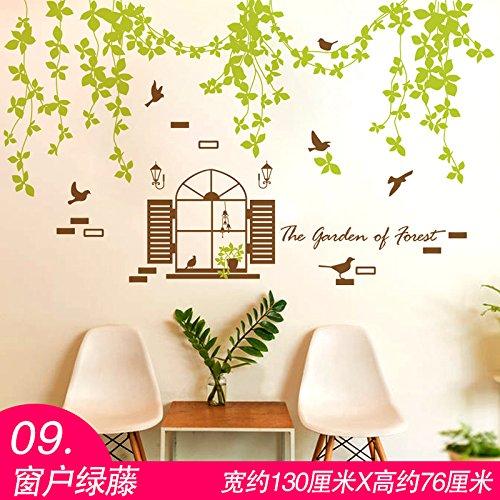 TIANLU Pvc 3D Stereo Fenster Schlafzimmer Wohnzimmer Wand Aufkleber beliebte Frische und stilvolle Zimmer in einem Home Office zwangloses Dekor Urban Wallpaper, Windows Rattan (Wand-dekor Urban)