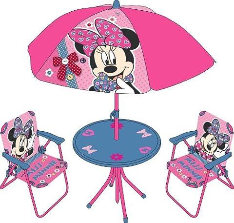 Minnie Mouse Kinder Gartengarnitur 2 Sessel Sonnenschirm Tisch