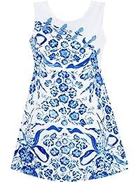 Sunny Fashion Robe Fille Bleu Blanc Porcelaine Floral Imprimé Nœud Bouton