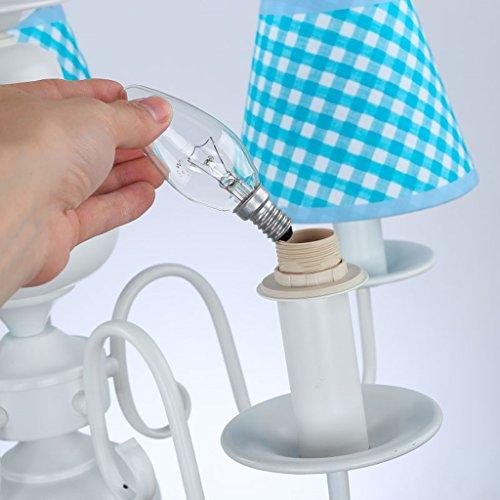 Neue Kronleuchter einfachen Tuch schöne Beleuchtung Rauch blaue LED Junge Doppellampenschlafzimmerlampe hängen - 4