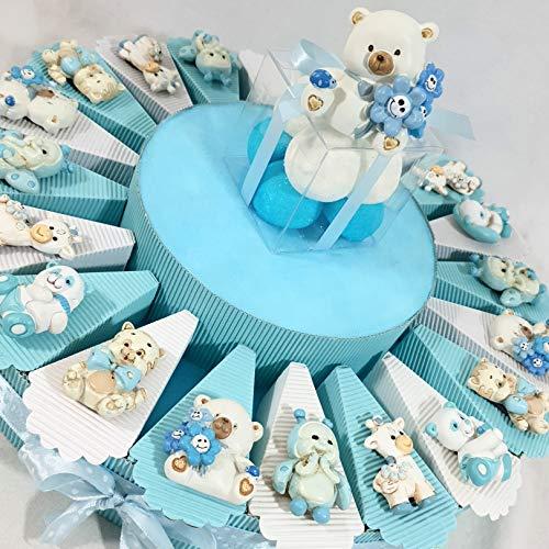 Torta bomboniere con scatolina a forma di fetta con 5 confetti + oggetti + centrale *