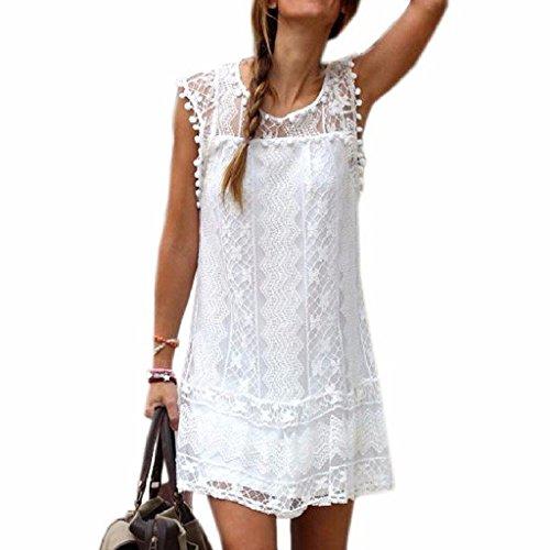 Minetom Donne Ragazze Estate A-Line Vestito Uncinetto Stampa Floreale Vestito Con Palla Frange Mini Abito Bianco 44