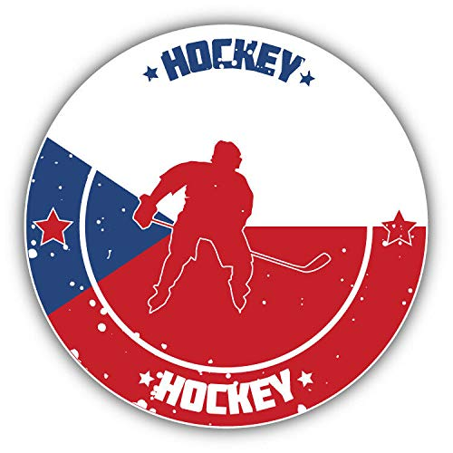 Tiukiu Czech Republic Flag Hockey Sport Emblem Vinyl Decal Sticker for Laptop Fridge Guitar Car Motorcycle Helmet Toolbox Luggage Cases 6 Inch In Width