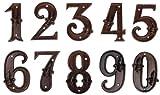 Esschert Design Set: Hausnummer 18 mit Lilien Muster aus Gusseisen in antikbraun, patiniert, auch als Zimmernummer geeignet (ca. 12 cm x 8,3 cm)